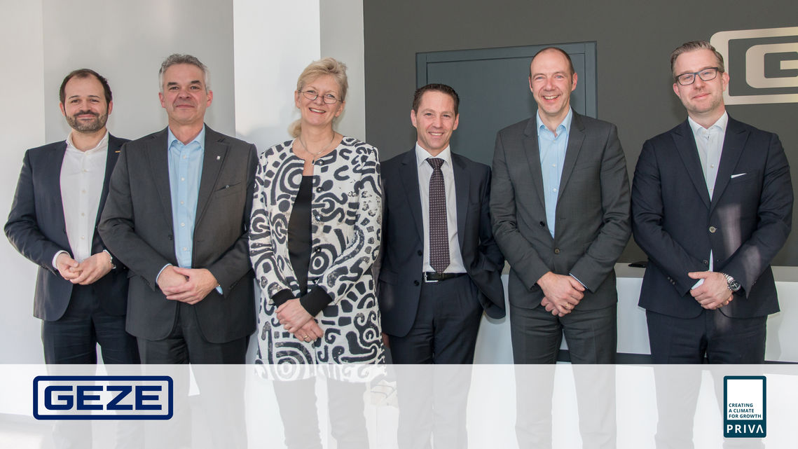 Representatives of GEZE GmbH and Priva B.V. at the GEZE head office in Leonberg.