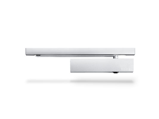 Door closer TS 5000 E Overhead door closer with guide rail for single leaf doors of up to 1400 mm leaf width with electric hold-open device