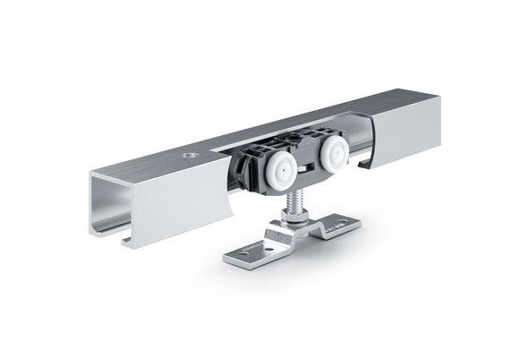 Rollan 80 NT lemn Sistem de feronerie glisantă pentru uși din lemn, PVC sau metalice cu greutatea canatului de 80 kg și cu amortizare unilaterală și bilaterală