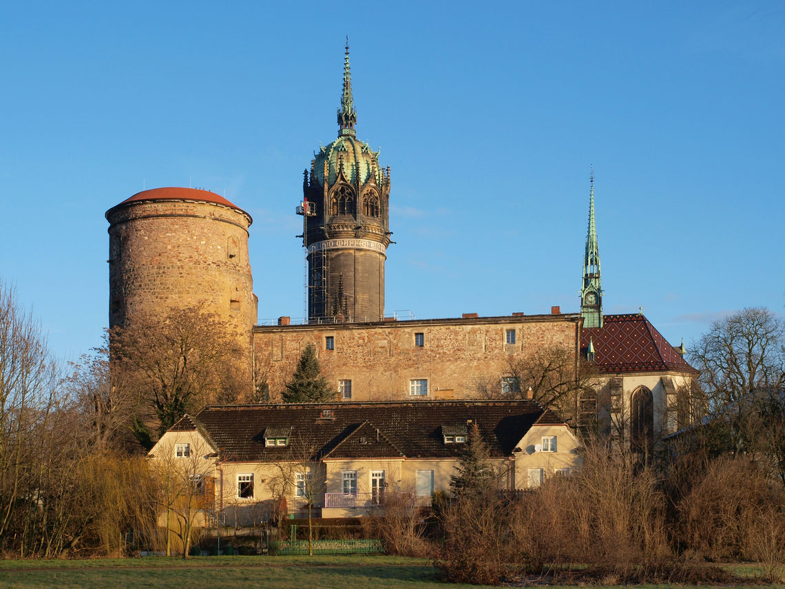 Historical building: the Palace Church of all Saints in Wittenberg with its mighty tower.