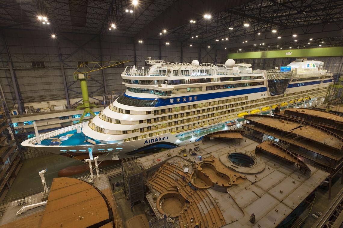 Neuer Gigant der AIDA Flotte: AIDAluna im Baudock.