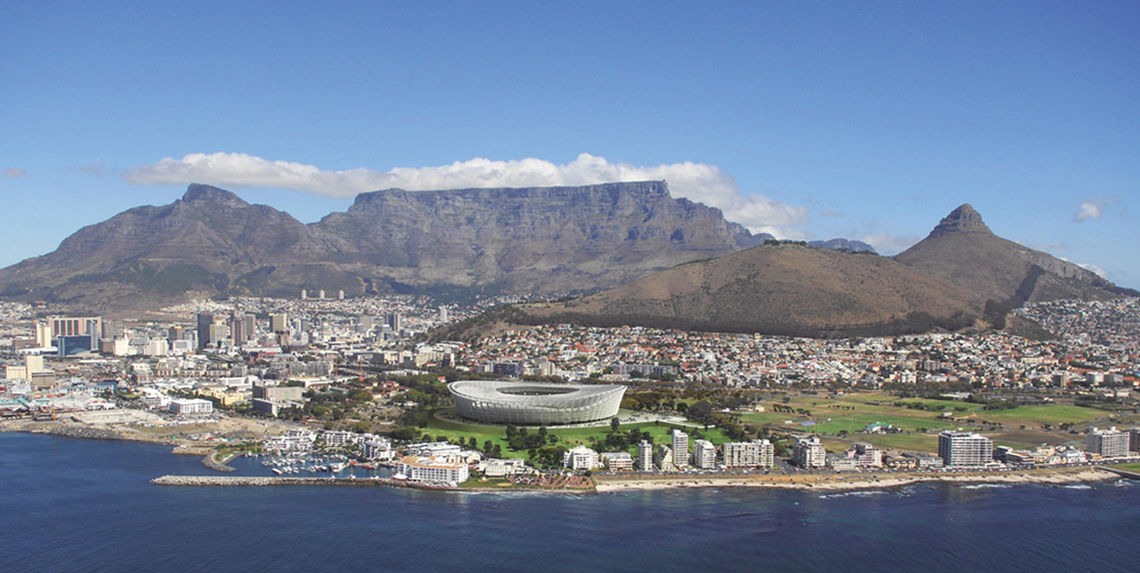 Det nye 'Green Point Stadium' i Cape Town med GEZE dør- og vindusteknologi.