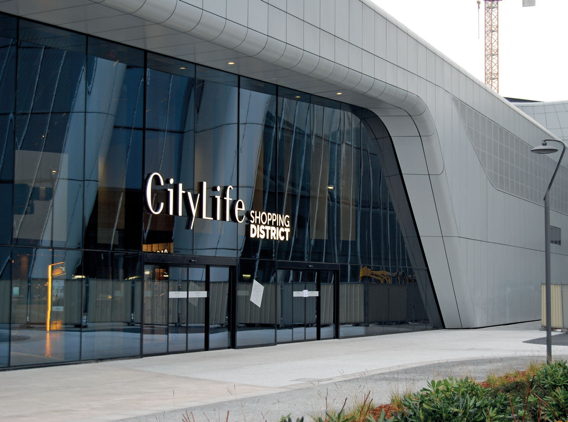 The entrance to the CityLife Shopping District in Milan with GEZE automatic doors.