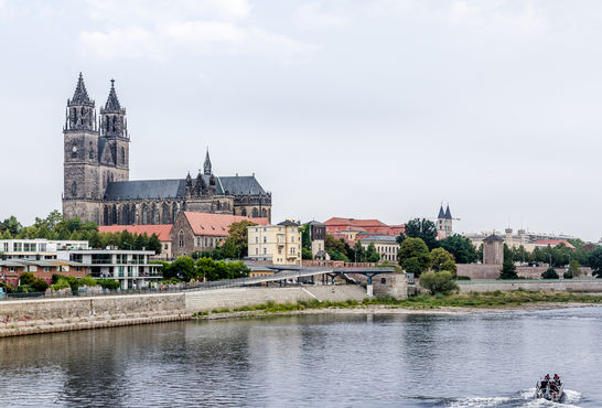 View of the Magdeburg Cathedral from the river. © Stefan Dauth / GEZE GmbH
