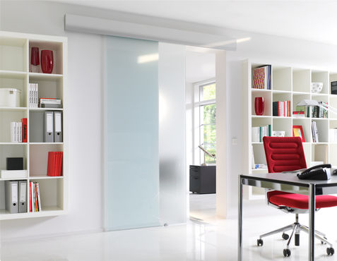 Sliding doors both separate and connect while saving space.