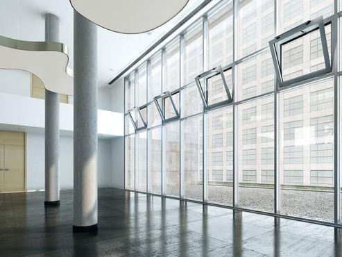 Kettenantrieb Slimchain, installiert in einem Bürogebäude