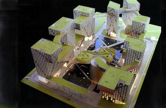 Modelo do Grand MOMA com instalações exteriores.