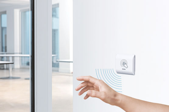 Hygienic solution for highly-frequented buildings: proximity switches for automated doors and windows such as GEZE GC 306.