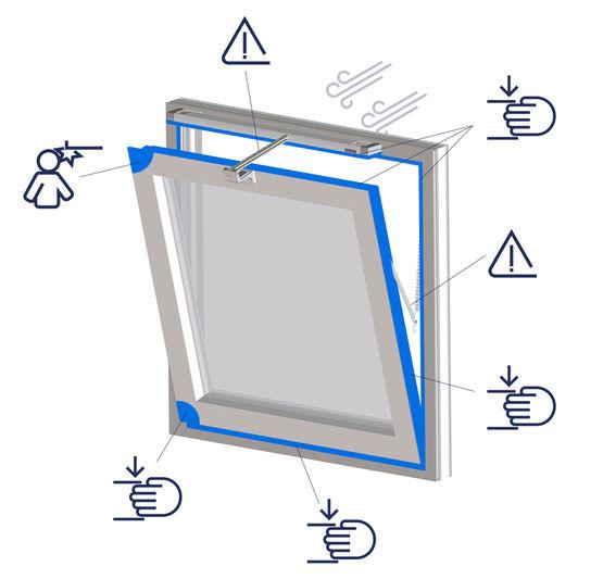 Gefahrenstellen an Fenstern können abgesichert werden, um sicheres Lüften zu gewährleisten.