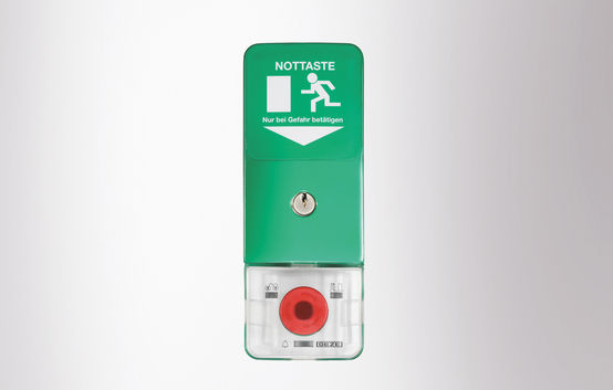 SecuLogic emergency exit system, Surface mounted door control unit, Control unit with emergency push button and key switch lit with emergency exit sign