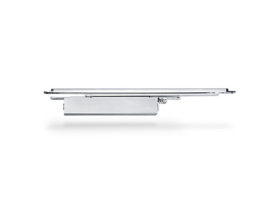 Integrated door closer for single leaf doors with a leaf width of up to 1400 mm. The door closer is embedded in the door leaf and the frame and meets the highest design demands. Hydraulic latching action which accelerates the door shortly before reaching the closed position.