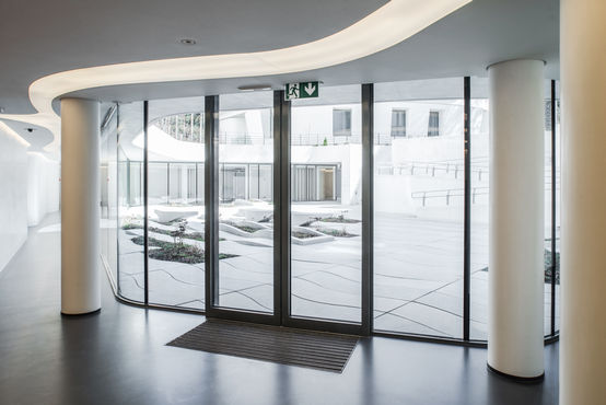 An automatic door in a residential building