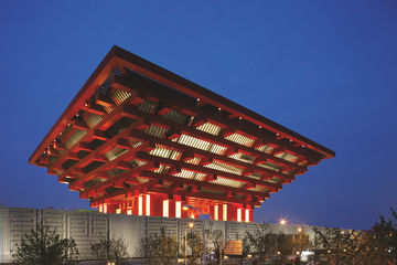 Exterior view of the China Pavilion, Shanghai EXPO.