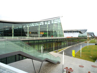 Exterior view of the new Messe Stuttgart exhibition centre.