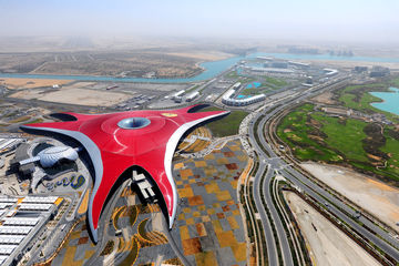 Aerial view of Ferrari World Abu Dhabi.