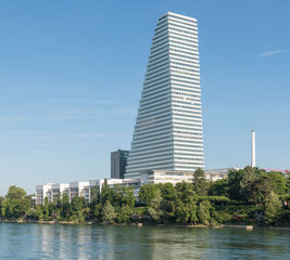Exterior view of the Roche Tower in Basel.