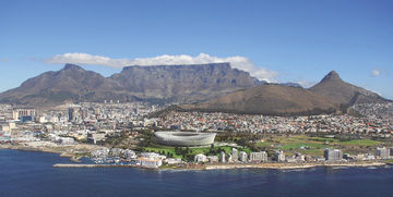 The Cape Town coast with Cape Town Stadium.