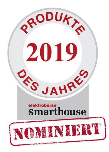 """Zertifikat elektrobörse smarthouse Produkte des Jahres 2019 Nominiert Nominee-Labels für den Award """"Produkte des Jahres 2019"""" der Fachzeitschrift elektrobörse smarthouse"""