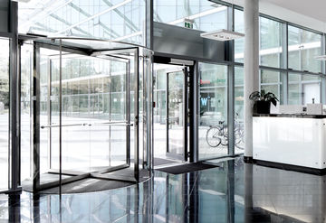 Three- and four-leaf all-glass door systems, manually operated, interior and exterior doors with high access frequency.