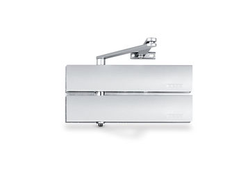 Overhead pinion door closer for single-action doors with adjustable closing force and back check