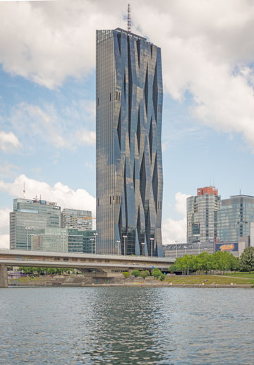 The new landmark of  Donau City, Vienna: DC Tower 1. Photo: Michael Nagl for GEZE GmbH